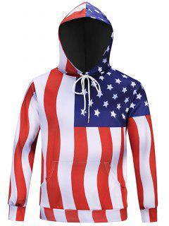 Hooded Chevron Stripe American Flag Hoodie - M