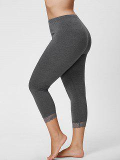 Plus Size Lace Hem Capri Leggings - Gray 2xl