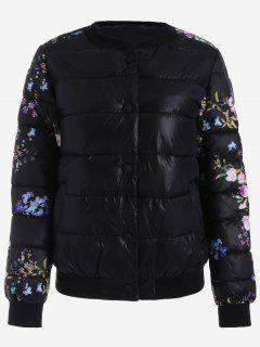 Snap Button Floral Jacket - Black L
