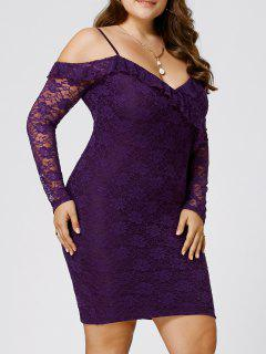 Plus Size Dew Shoulder Frill Lace Bodycon Dress - Purple 3xl