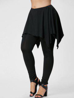 Plus Size Handerchief Skirted Pants - Black 2xl