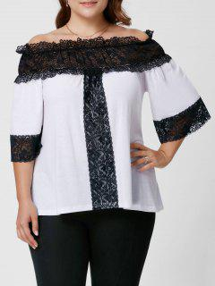Plus Size Lace Panel Off The Shoulder Top - White 4xl