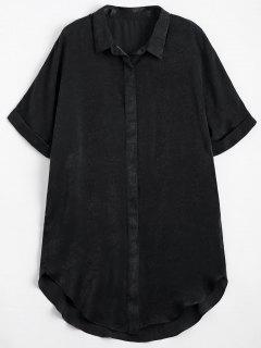 Button Up Plain Longline Shirt - Black L