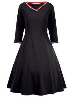 V Neck Three Quarter Sleeve Dress - Black L
