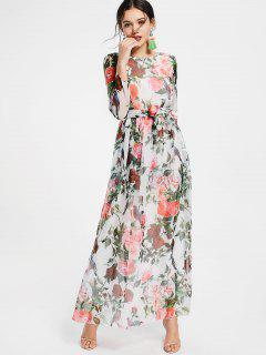 Floral Print Long Sleeve Belted Maxi Dress - White M