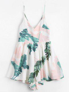 Leaves Print Open Back Cami Romper - Multi L