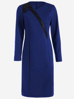 Skew Collar Long Sleeve Patchwork Dress - Blue M
