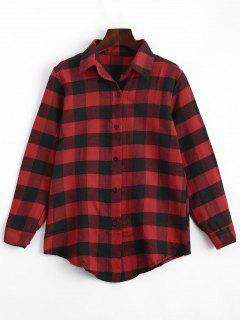 Button Up Checked Longline Shirt - Red L
