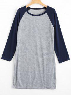 Raglan Sleeve Ribbed Knitted Dress - Purplish Blue M