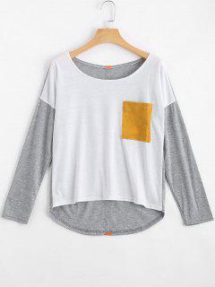Camiseta Del Bolsillo Del Contraste Del Hombro De La Gota - Multicolor S