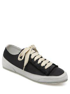 Suede Insert Satin Sneakers - Black 37