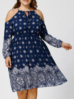 Plus Size Dew Shoulder Floral Bohemian Dress - Purplish Blue Xl