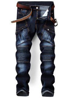 Zip Fly Biker Jeans Con Bolsillo De La Aleta - Azul 34