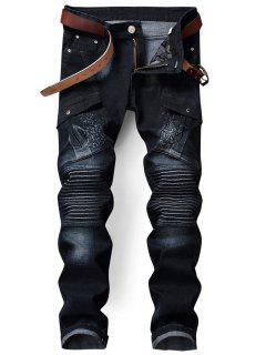 Zip Fly Biker Jeans Mit Klappe Tasche - Grau 36