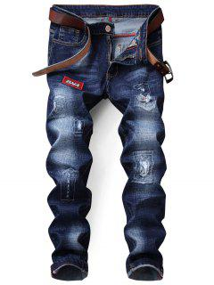 Zip Fly Distressed Patch Jeans - Deep Blue 32