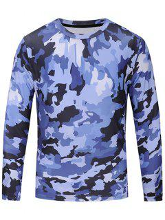 Crew Neck Camouflage Print Long Sleeve T-shirt - Blue L