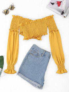 Smocked Chiffon Off The Shoulder Cover-up - Yellow L