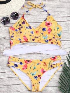 Ausgeschnittener Winziger Blumen Wickel Bikini - Gelb M