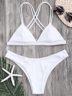 Hohe Schlitz Kreuz Rücken String Bikini - Weiß L