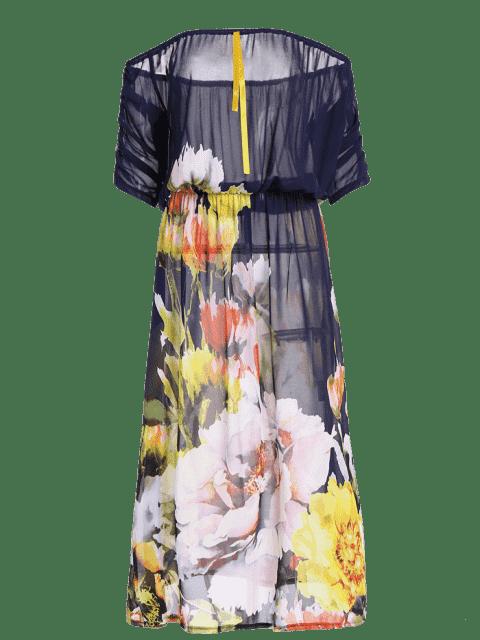 chic Semi Sheer Off The Shoulder Floral Dress - FLORAL XL Mobile