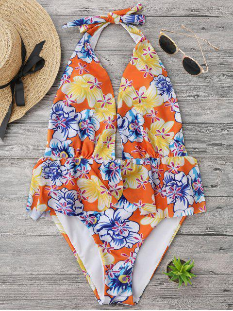 lady Ruffles Plunge Backless High Cut Swimwear - FLORAL S Mobile
