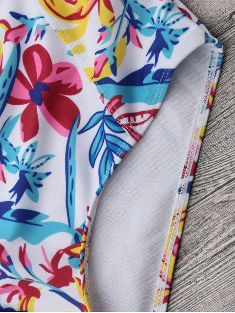 online Floral Strapless High Waisted Bikini - WHITE M Mobile