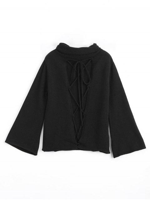 outfits Cut Out Lace Up Turtleneck Sweater - BLACK ONE SIZE Mobile