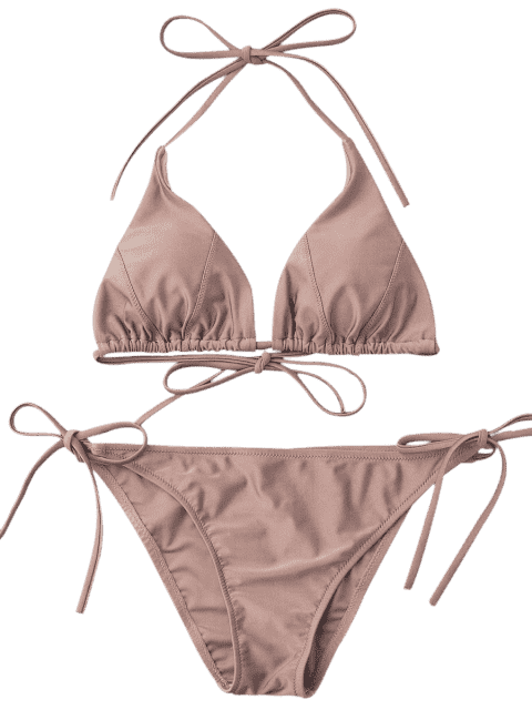 ladies Adjustable Self Tie String Bikini Set - PALE PINKISH GREY L Mobile