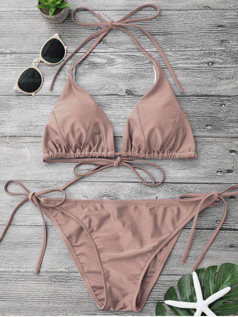 best Adjustable Self Tie String Bikini Set - PALE PINKISH GREY S Mobile