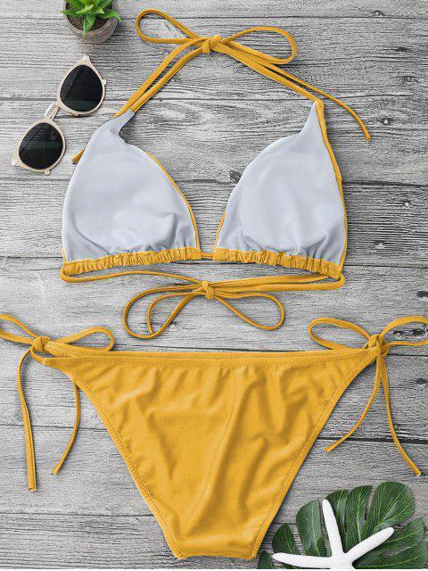 hot Adjustable Self Tie String Bikini Set - YELLOW S Mobile