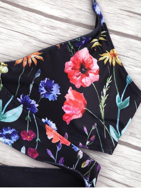 trendy Cut Out Tiny Floral Wrap Bikini - BLACK S Mobile