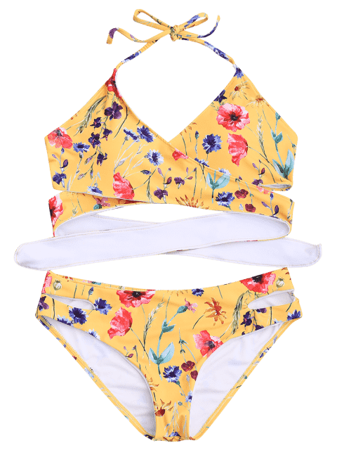 fashion Cut Out Tiny Floral Wrap Bikini - GRAY L Mobile