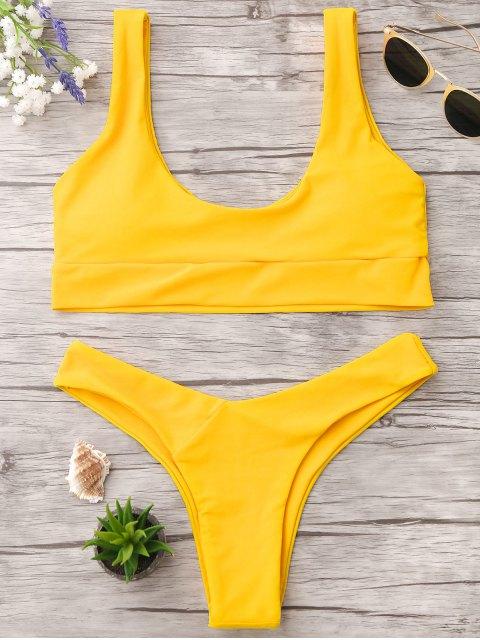 unique U Neck Bralette Thong Bikini - BRIGHT YELLOW L Mobile