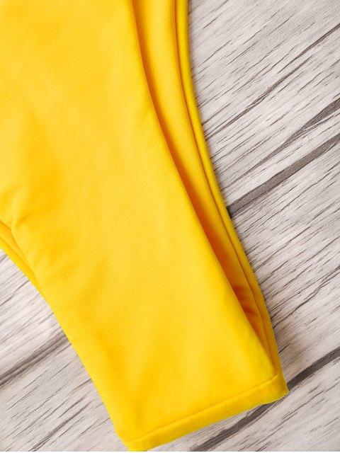 affordable U Neck Bralette Thong Bikini - BRIGHT YELLOW S Mobile