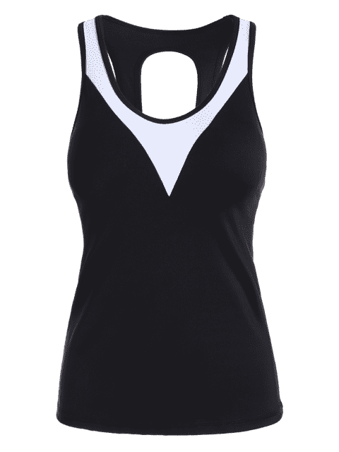ladies Cut Out Color Block Sporty Top - BLACK M Mobile