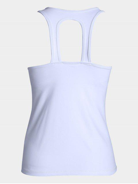 best Cut Out Color Block Sporty Top - WHITE L Mobile