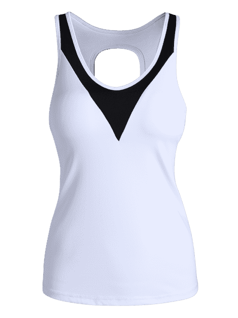 new Cut Out Color Block Sporty Top - WHITE S Mobile