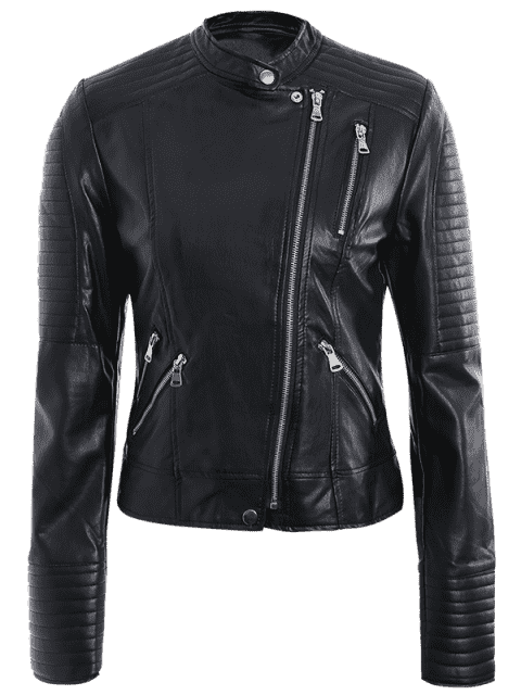 hot Embossed PU Leather Motocycle Jacket - BLACK L Mobile