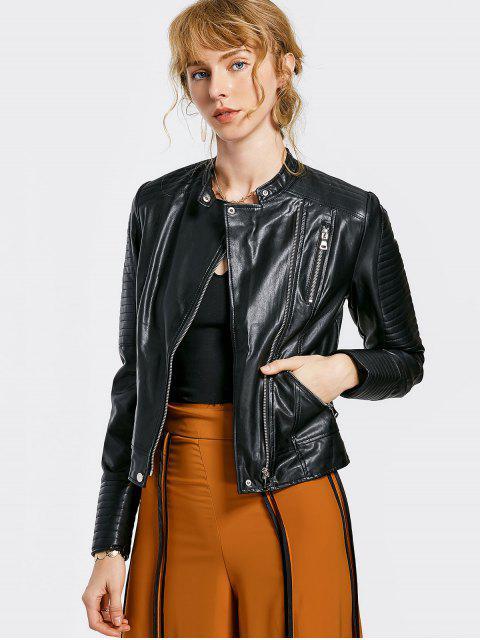 new Embossed PU Leather Motocycle Jacket - BLACK M Mobile