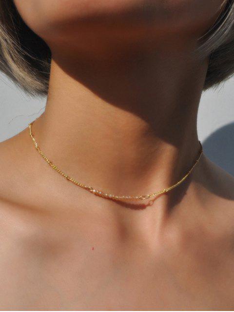 Schlüsselbein Halskette mit Perlen und Kette - Champagner   Mobile