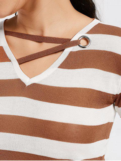 shop V Neck Striped Knitted Tee - KHAKI ONE SIZE Mobile