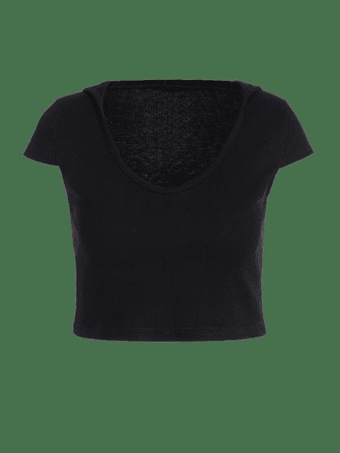 trendy Hooded Knitted Crop Tee - BLACK M Mobile