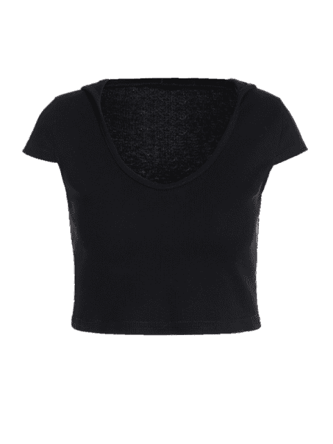 fashion Hooded Knitted Crop Tee - BLACK L Mobile
