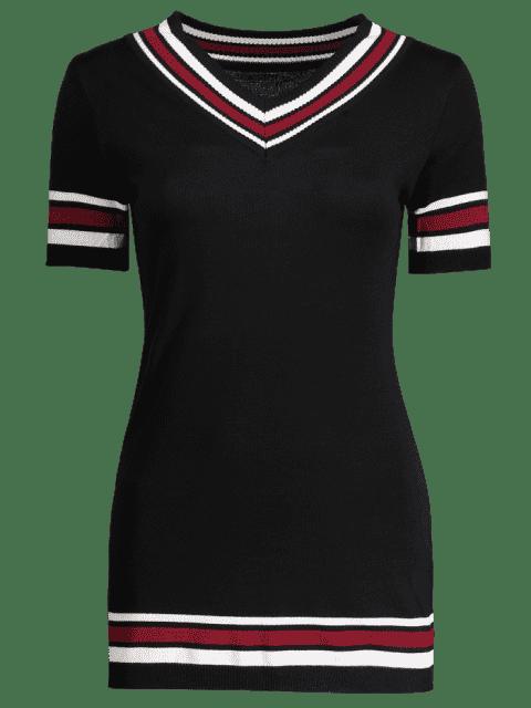 fancy V Neck Striped Knitted Dress - BLACK ONE SIZE Mobile