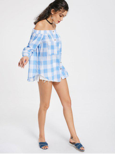 ladies Off The Shoulder Pockets Checked Blouse - CHECKED XL Mobile