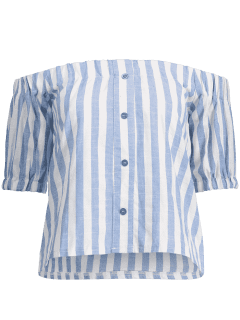 latest Off The Shoulder Buttons Striped Blouse - LIGHT BLUE XL Mobile