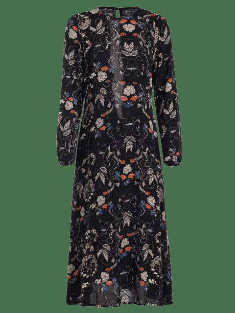 sale Cut Out Floral Print Long Sleeve Dress - FLORAL L Mobile