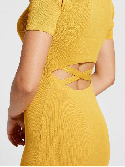 best Cut Out Knitted Fitted Dress - GINGER ONE SIZE Mobile