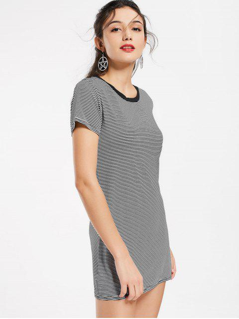 hot Round Collar Striped Mini Shift Dress - STRIPE S Mobile