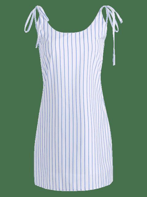 women Stripes Tied Straps Backless Mini Dress - STRIPE M Mobile